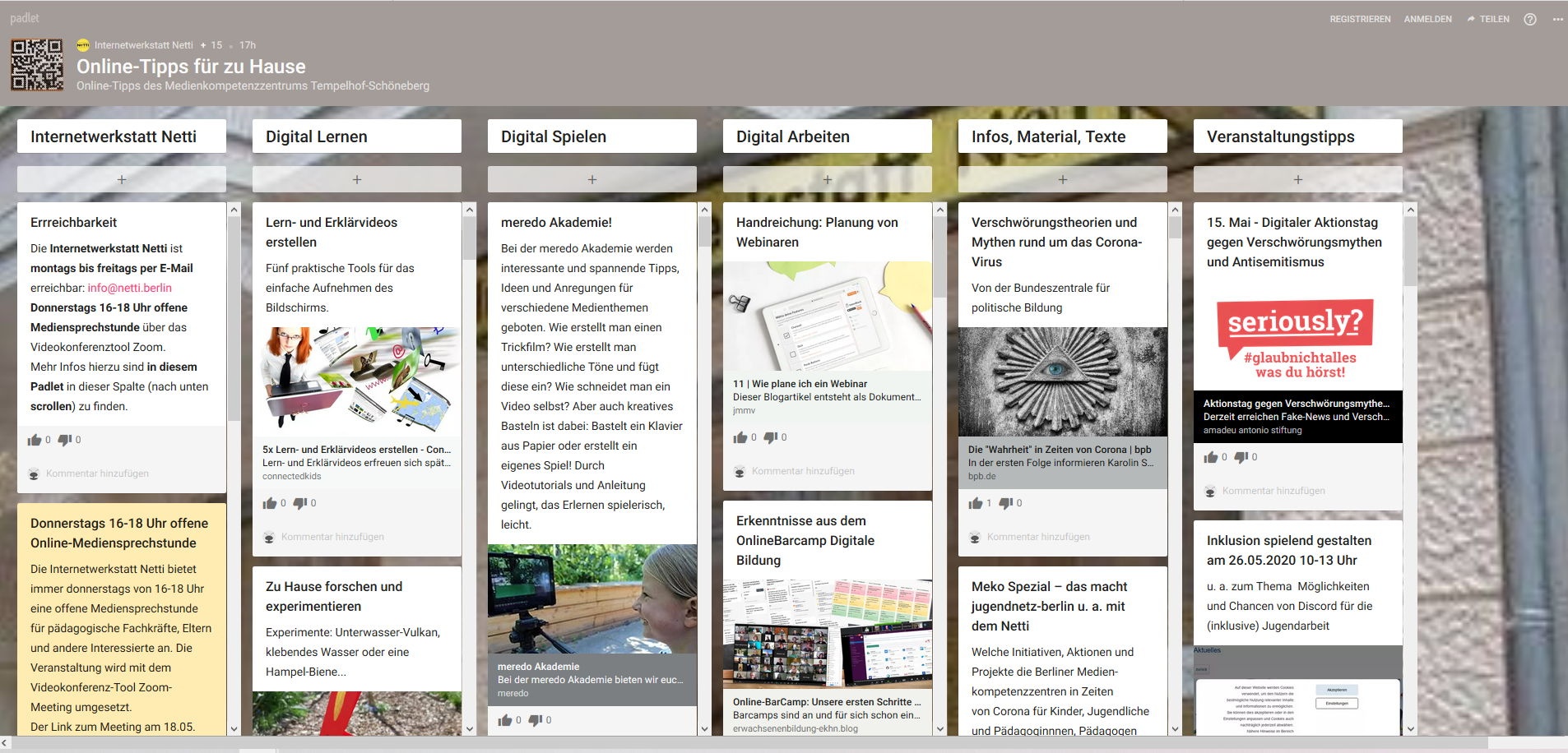Screenshot Netti Corona Padlet