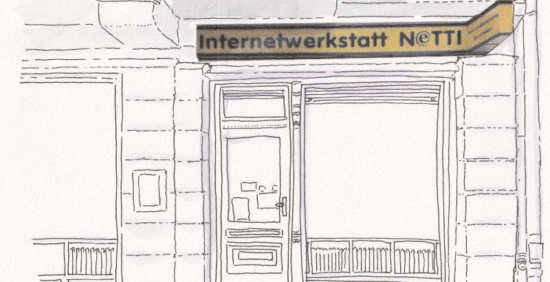 Zeichnung Netti-Fassade in Barbarossastr.